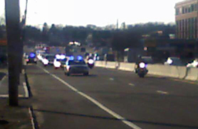 President Obama's motorcade, Rt. 9, Framingham, 2010-04-01