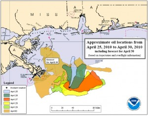 MAP - Spread of BP oil spill in Gulf of Mexico, April 25-30, 2010