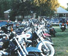 Harely Davidson Motorcycles parked at the Framingham Blues Festival 1997