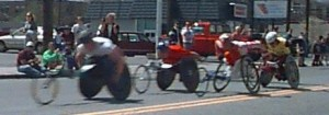 Boston Marathon 1997 wheelchair division coming through Framingham, MA
