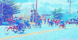 Illustration of Wheelchair racers 101st Boston Marathon, (c)RMH 1997, all rights reserved.