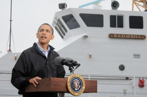 PHOTO - President Obama at Deepwater Horizon spill news conference.
