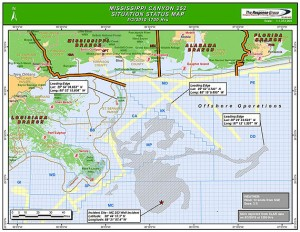 BP situation map of Deepwater Horizon spill area (May 3, 2010)