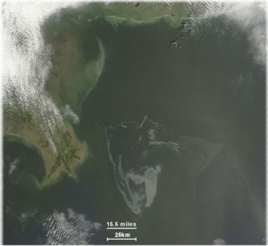 May 1, 2010 - NASA's Terra satellite image of Deepwater Horizon oil spill in Gulf of Mexico.