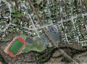 [MAP] Showing location of Framingham State College Football Stadium, which is on Maple Street near Winter Street end, Framingham Center.