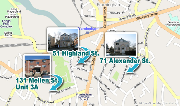 Map shows three foreclosed properties that are being sold in Framingham Home Lottery, October 5, 2010