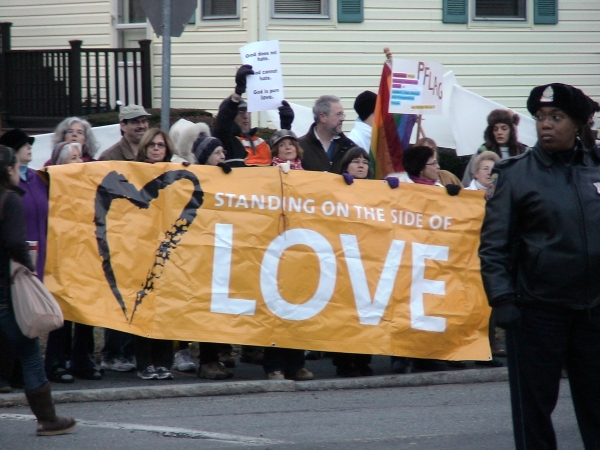 Famingham, MA - December 3, 2010, Stand on the Side of Love - WBC Counter protest.