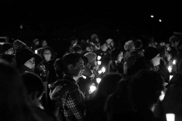 Candlelight vigil, Laramie Project, Framingham High School, December 4, 2010. (Photo by Evan Higgens)