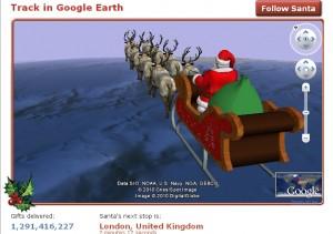 2010 NORAD Santa Tracker with Google Earth