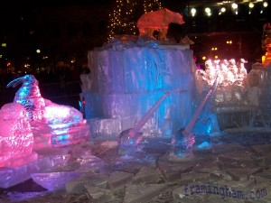 First Night boston - New Years Eve Ice Sculpture in front of Boston Public Library.