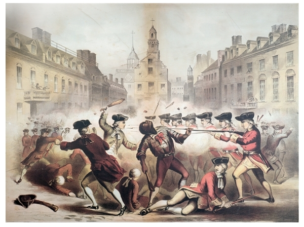 Painting: Death of Crispus Attucks at the Boston Massacre, by James Wells Champney (American artist)