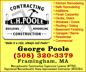 Framingham Contractor - L.H. Poole, Building Remodeling, Construction, 508-320-3379